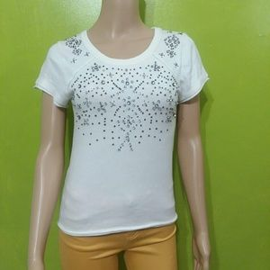 Free People Beaded White Knit top Sz XS